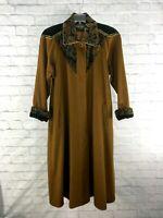 Vintage PORTRAIT Long Duster/Trench Coat Wool Blend & Velvet Jacket 80s XL