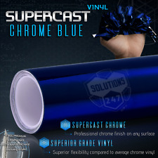 "Blue Supercast Flex Stretch Mirror Chrome Vinyl Wrap Bubble Free - 12"" x 60"" In"