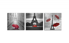 Paris Eiffel Tower Car Umbrella Wall Art Print Canvas Framed Decor Gift