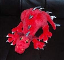 "Manhattan Toy Dragon Plush Red Silver Stuffed Animal Toy HTF 12"" Crouching Boys"
