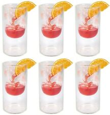LARGE Double wall cocktail glass drinking glasses HIGHBALL 320ml  8x15.5cm box 6