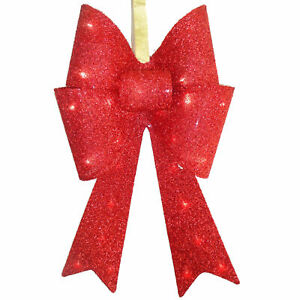 """20"""" Red Tinsel Bow with 13 Warm White LED Lights"""