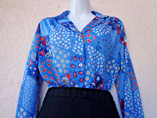 Vintage PSYCHEDELIC PRINT BLOUSE Patchwork Top  Sheer Chiffon 1970s Blue M to L
