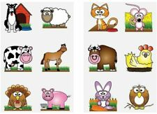 12 Farm Animals Tattoos Birthday Party Loot Bag Toy Fillers For Kids