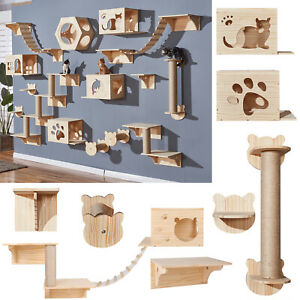 Wall-Mounted Cat Shelf Wooden Perches Bed For Sleeping Playing Climbing Shelves