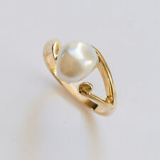 NATURAL SOUTH SEA KESHI PEARL 9 CARAT GOLD RING GENUINE 9K GOLD SIZE M1/2 NEW