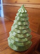 """8"""" Green Glitter Beaded Christmas Holiday Tree Candle Table Mantel Decoration"""