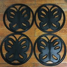 Set of 4 Butterfly Planter Pot Mats Protective Cover for Deck Patio Indoors New