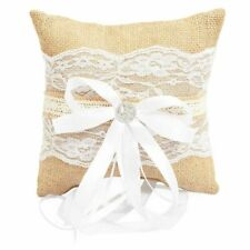 Burlap Lace Wedding Ring Bearer Pillow Hold for Wedding Engagement Ceremonies