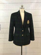 Ralph Lauren Puffy Crest Boyfriend Blazer Jacket Plaid Womens 8 Petite Tartan