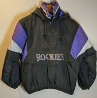 Vtg 90s Colorado Rockies Starters Pro Player Windbreaker Jacket Men Size S MLB