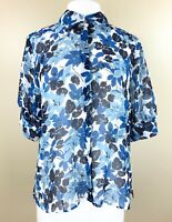 Chaps Sz XL Top Semi Sheer Button Up Short Puff Sleeve Shades of Blue Floral