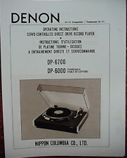 DENON DP-6000 and DP-6700 TURNTABLE OPERATING INSTRUCTIONS 22 Pages