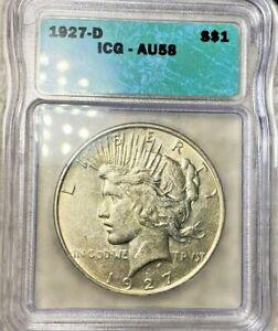 1927-D  Peace Dollar $1 ICG AU58.  LOW SHIPPING!!