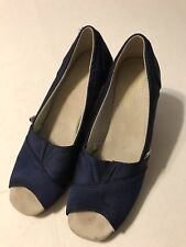 Toms Women's Wedge Shoes Navy Blue  Open Toe Sandal Wedge Size 7.5 Wide