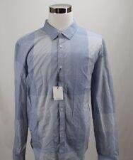 NWT Calvin Klein Men's Shirt 2XL Blue Large Plaid 100% Cotton MSRP $69