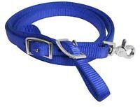 PRORIDER Horse Roping Western Barrel Contest Reins Nylon Braided Snap 7 Blue 607494TN
