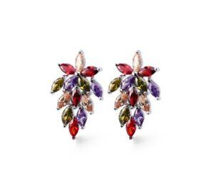 Unique Fire Water Drop Peridot Garnet Amethyst Gems Silver Stud Earrings