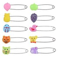 Plastic Head Safety Pins Infant Kids Cloth Nappy Locking Brooch Buckle Clip F07#