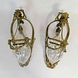 Pair Neoclassical Revival Brass & Glass Rams Head Wall Light Sconces  RTG/LB