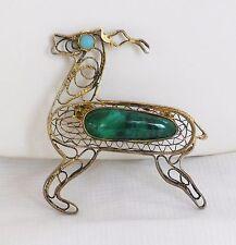 Vintage Sterling Silver Turquoise EILAT Stone Filigree REINDEER Pin Israel