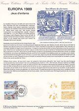 Document Philatélique Timbre 1er Jour : 29/04/ 1989 - Europa Jeux d'Enfants