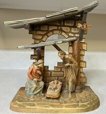 Anri Nativity Italy Handcarved Wood Creche Set Manger Joseph Mary Jesus Cherub