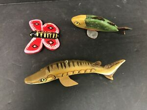 3 Bevy Williams Virginia Beach Decoy Fishing Lures pike Butterfly Sunfish