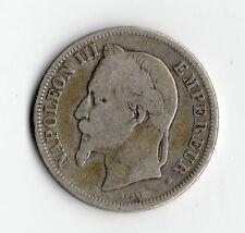 RARE MONNAIE DE 2 FRANCS NAPOLEON III TETE LAUREE ARGENT DE 1866 BB @ STRASBOURG