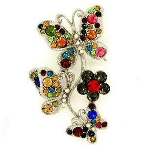 Multi Coloured Crystal Diamante Butterfly & Flower Brooch Pin  NEW