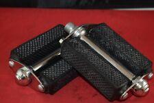 LION Rubber Block pedal set 9/16 chrome black rubber France NOS