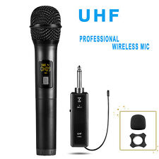 Pro UHF Wireless Handheld Microphone+Rechargeable Receiver LCD Karaoke Church US