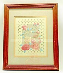 D&S Eavenson Valentines Spring Roses Lattice Cutout Signed Regina Walters 1988
