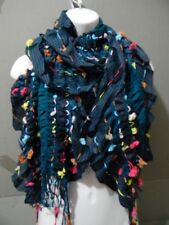 Multi Color Polka Dot Scrunched Ruffle Scarf Knit Stripe Blue Green Pink Red