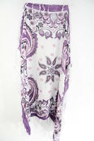 LADIES WHITE / PURPLE FLORAL INSPIRED UNIQUE STATEMENT TASSELLED SCARF(MS26)