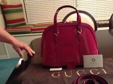 Gucci Nice Microguccissima Patent Leather Top Handle Bag Bright Pink Medium