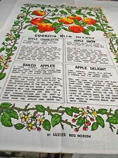 Vintage Teatowel 'Cooking with Apples' Pure Irish Linen by Ulster Brand New