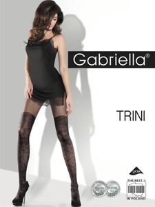 GABRIELLA Collant sexy fantaisie femme effet bas noir motif Taille 4 L 20 denier