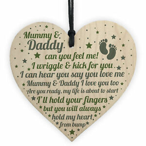 Mum To Be Dad To Be Gift Heart Baby Keepsake Gift From Bump To Mummy Daddy