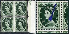 "Bronce fosforoso 9d 1966 QEII Violeta-Verde ""Marco Break"" SG Spec S128c"