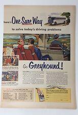 Original Print Ad 1953 Go GREYHOUND One Sure Way Solve Driving Problems