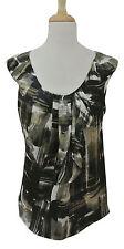 HANII Y abstract brushstroke print sleeveless top sz 42 8 M pleated neck