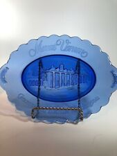 Vintage Avon Mount Vernon George And Martha Washington Cobalt Blue Oval Plate