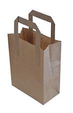 100 x Kraft Paper SOS Carrier Bags Brown with Flat Handles / Takeaway / Gifts