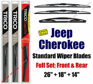 Wiper Blades 3-Pack Front Rear Standard fit 2014+ Jeep Cherokee - 30260/180/14A