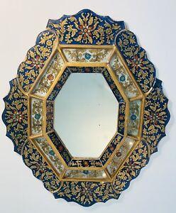 VintagePeruvian Wall Mirror Reverse Hand Painted Panels Glass Overlay Gilt Boho
