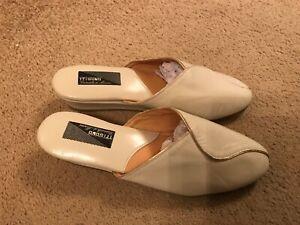 Ladies' Cream Leather Spanish Wedge Slippers - Size 5 - New