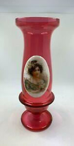 Cranberry Glass Bohemian Portrait Vase Victorian glass applied ceramic portrait