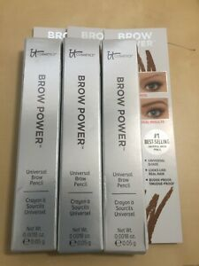 3x It Cosmetics Brow Power Universal Brow Pencil Taupe Travel Size .0018 oz each