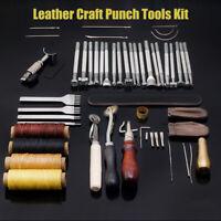 45 Stk. Leder Handwerk Lederwerkzeug Set Lederhobel Werkzeug Nähen Stitching Kit